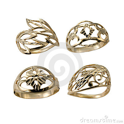 Set of golden jewelry rings