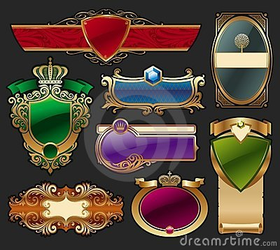 Set of golden luxury framed label
