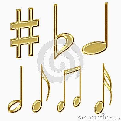 Set of golden musical notes