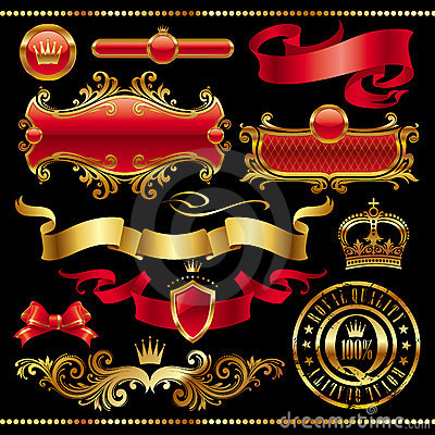 Set of golden royal design elements