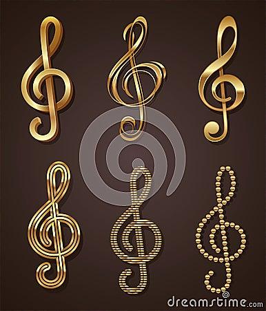 Set of golden treble clef