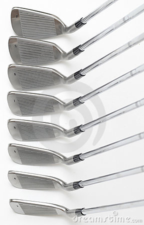 Set of golf club on white background