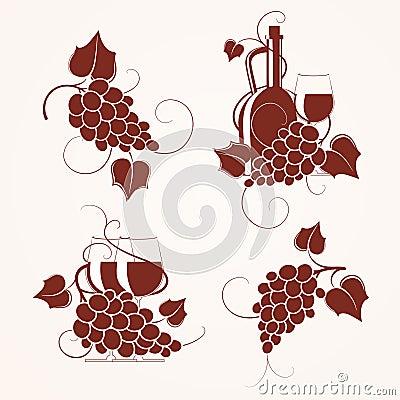 Set of grape design