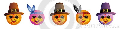 A set of graphic emoticons - turkey. Emoji collection. Smile icons. Thanksgiving Day. Vector Illustration