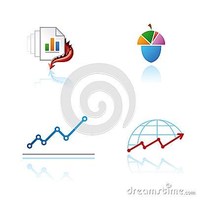 Set of graphic symbols on analytical theme