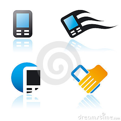 Set of graphic symbols on communication theme