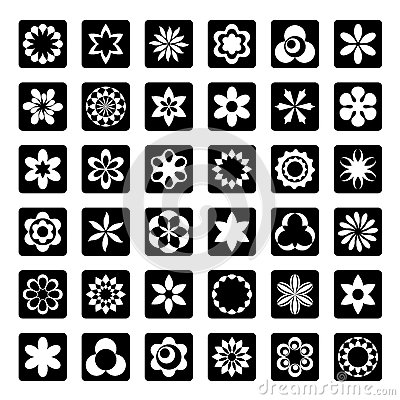 Set of graphical floral icons