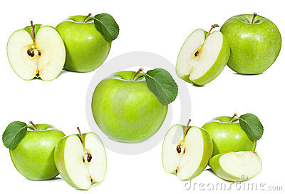 Set with green apple