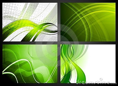 Set of green backdrops