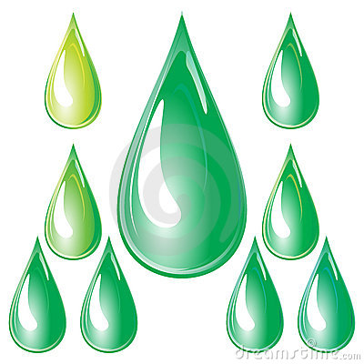 Set of green drops