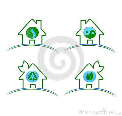 Set of green environmental icons isolat