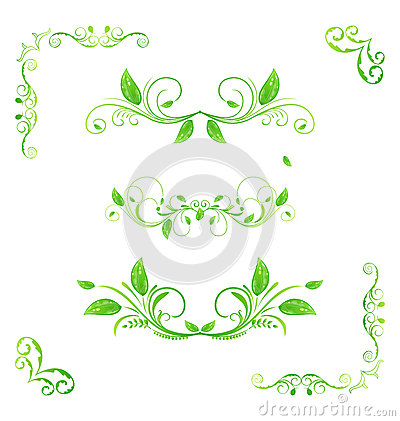 Set green floral elements with eco leaves (2)