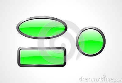 Set of green glass buttons
