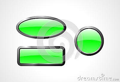 Set of green glass buttons