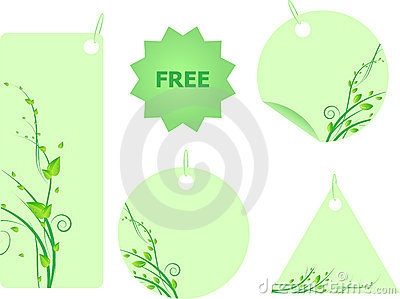 Set of green labels with swirl leaves