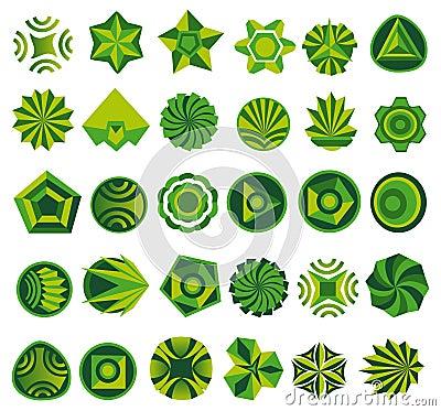 Set of green logo