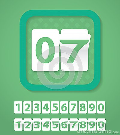 Set of green number cards