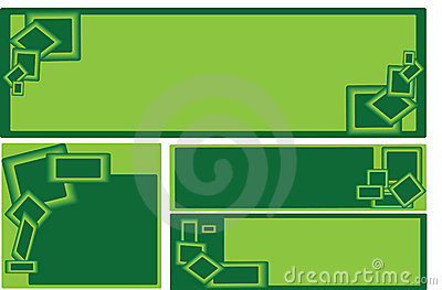 Set of green rectangle business banners