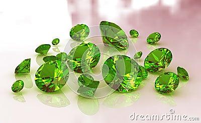 Set of green round emerald gemstones