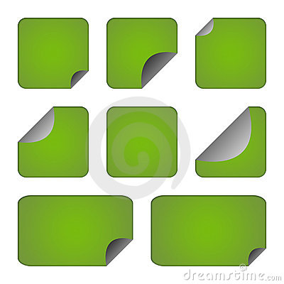 Set of green stickers or labels