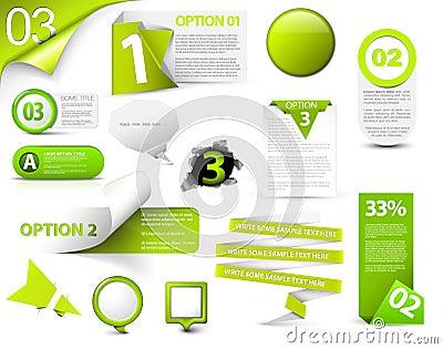 Set of green vector progress icons