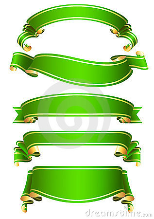 Set of  green vector ribbon banners