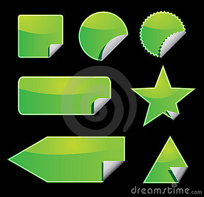 Set of green vector stickers