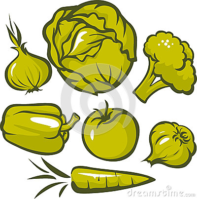 Set of green vegetable