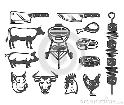 Set grill and barbecue icons Vector Illustration