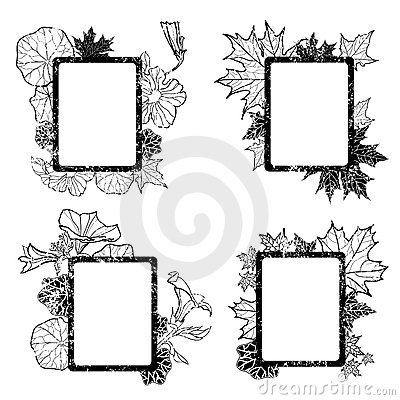 Set of grunge autumn leafs frames
