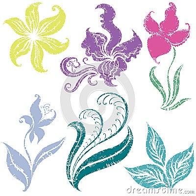 Set of grunge floral design elements