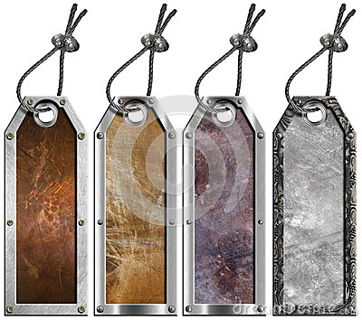 Set of Grunge Metal Tags - 4 items