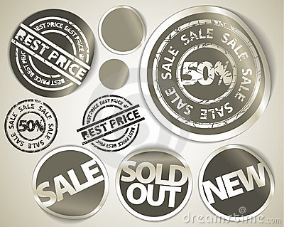 Set of grunge sale labels badges and stickers