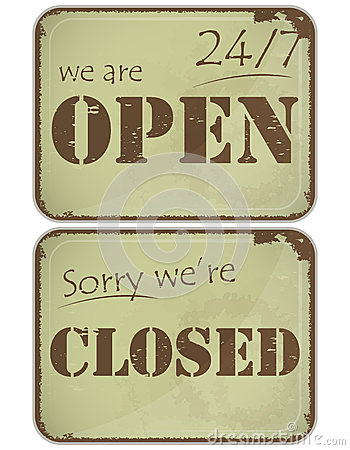 Set of grunge signs: open - closed - 24 hours