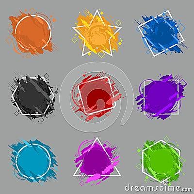 Free Set Grunge Splash Banner. Vector Splatter Labels With Space For Text. Grunge Label. Royalty Free Stock Image - 116254146