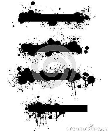 Set of Grunge Vector Splatter Banners