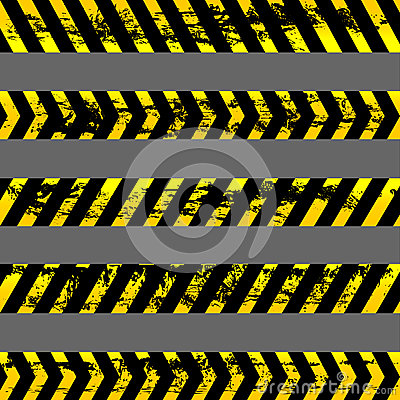Set of grunge yellow caution tapes - isolated illustration