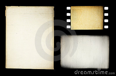 Set of grungy different film frames
