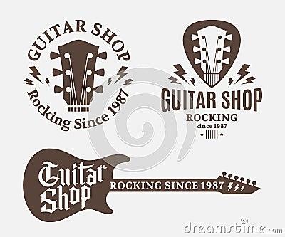 Set Of Guitar Shop Logo Cartoon Vector