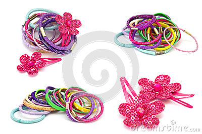 Set of hair accossories   on white background