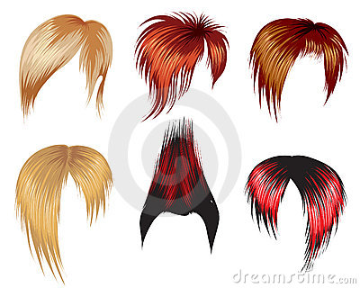 Set of hair style samples