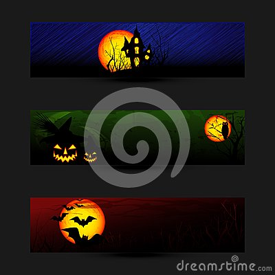 Set of Halloween Banner or Web Header
