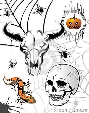 Set of Halloween elements