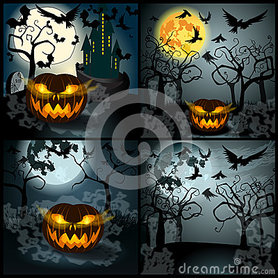 Set of Halloween illustration with Jack O Lantern