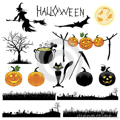 Set of Halloween vector illustration