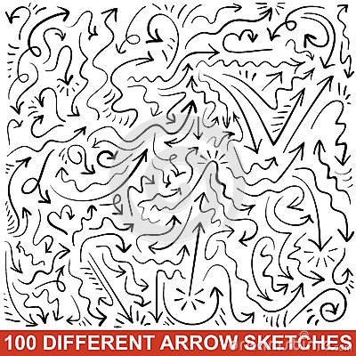 Set of hand drawn arrow sketches. Black graphic