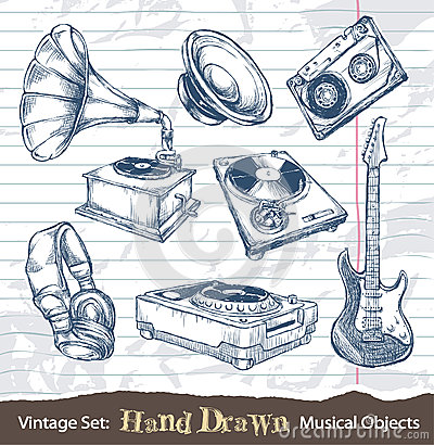 Set of hand drawn musical objects