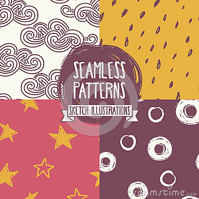 Set of hand drawn seamless patterns Vector Illustration
