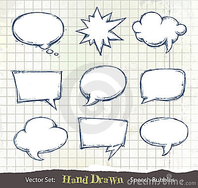 Set of hand-drawn speech bubbles