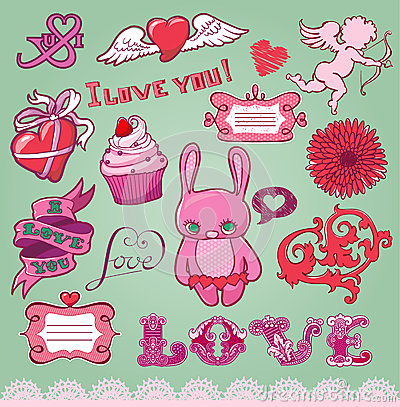 Set of hand-drawn valentine s elements for design